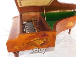 VTG REUGE PIANO 3/72 NOTE BEETHOVEN Italian INLAY BURL WOOD CYLINDER MUSIC BOX