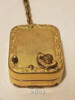 VTG REUGE STE CROIX MUSIC BOX SWISS MADE KEYCHAIN WithPICTURE SLOT WORKS