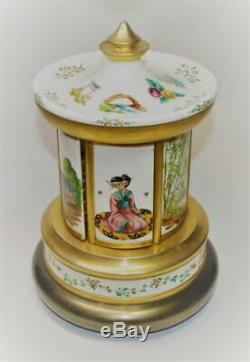 VTG Reuge Swiss Dancing Ballerina 6 doors Carousel Music Box Cigarette holder
