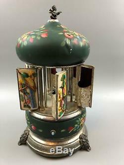 VTG Reuge Swiss Movement Birds Capodimonti Lipstick Cigarette Holder Music Box