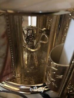 Vint 16 Italian Onyx/Marble/Glass/Brass Carousel Music Box Cigarette Carousel