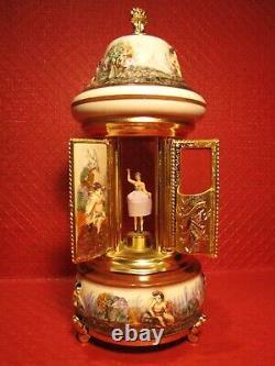 Vintage 12'' Reuge Music Box Dancing Ballerina Carousel Lipstick Holder, Works