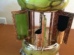Vintage 14 Italian Onyx/Marble Brass Carousel Music Box CigaretteHolderGVC