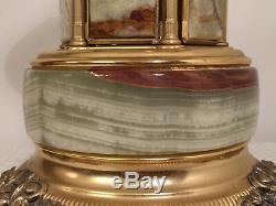 Vintage 16 Italian Onyx/Marble Brass Carousel Music Box Cigarette Carousel EUC
