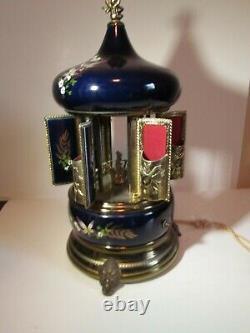 Vintage Antique REUGE Blue Carousel Music Box Cigarette Lipstick Holder WORKS