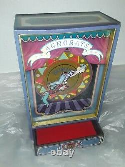 Vintage Automaton Acrobat Music Box Clowns Circus Carnival Amusement