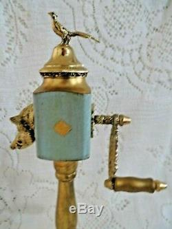 Vintage Brevetto Boars Head and Pheasant Pepper Mill Reuge Music Box Turquoise
