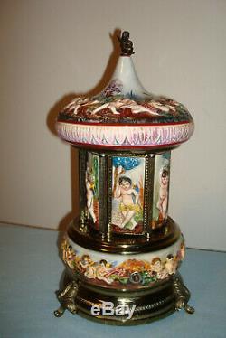 Vintage Capodimonte Italian Cigarette Lipstick Carousel Reuge Music Box