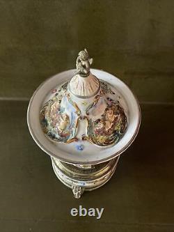 Vintage Capodimonte Porcelain Carousel Music Box Lipstick Holder Cherabs Reuge