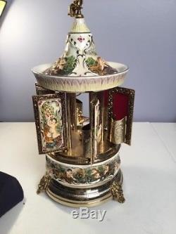 Vintage Capodimonte Reuge And Swiss Musical Cigarette/lipstick Carousel