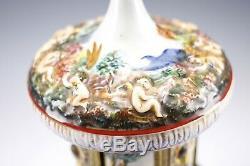 Vintage Capodimonte Reuge Porcelain Cherub Carousel Tobacco Cigarette Music Box