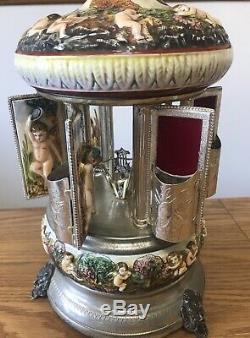 Vintage Capodimonte Swiss Reuge music box lipstick cigarette porcelain carousel