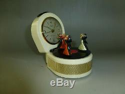 Vintage Dancers Musical Alarm Clock With Reuge Dancing Ballerina Music Box