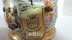 Vintage E. B. R. Capodimonte Mechanical Cigarette/ Candy/ Bin with Reuge music box