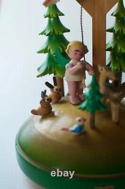 Vintage Erzgebirge Forest Scene Music Box Reuge Movement Jingle Bells