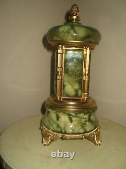 Vintage Green Onyx Marblle Made In Italy Cigarette/ Lipstick Carousel Music Box