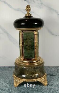 Vintage Green Porcelain Reuge Carousel Cigarette Lipstick Holder Music Box Italy