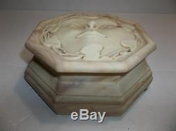 Vintage INCOLAY STUDIOS Stone Musical JEWELRY Box Carved Face BEIGE SIGNED