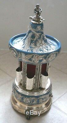 Vintage Italian Lipstick, cigarette Carousel Music Box. Original REUGE music box