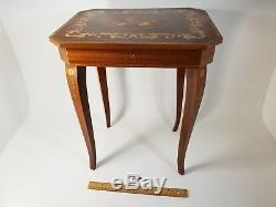 Vintage Italian Music Table Sewing Box Reuge Torna a Surriento Swiss Movement
