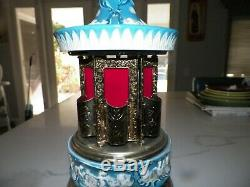 Vintage Italy Italian Reuge Musical Lipstick Carousel Turquoise Color Cherubs