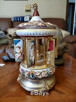 Vintage Italy Reuge music box lipstick cigarette porcelain carousel