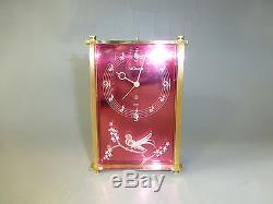 Vintage Jaeger Lecoultre 8 Day Musical Alarm Clock Reuge Music Box Bird Front
