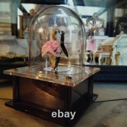 Vintage Japan Dancing Twirling Dome Music Box Couple Figurine Reuge Mechanical