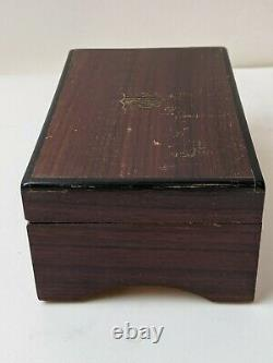 Vintage Lador Swiss Music Box 3 Tunes 50 Notes Plays Great Walnut Shield Case