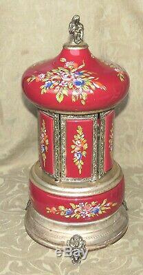 Vintage Large Red Enamel Reuge Santa Lucia Music Box Carousel Lipstick Holder