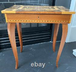 Vintage Made In Italy Reuge Swiss Movement Inlay Wood Music Box Table Dr Zhivago