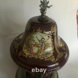 Vintage Porcelain Reuge Carousel Cigarette Lipstick Holder Music Box Italy