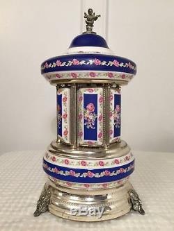 Vintage REUGE 13 Italian Porcelain Music Box Musical Cigarette Holder Carousel