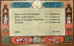 Vintage REUGE 4 SONG MUSIC BOX MAEDER/LUCERNE WOODCARVING STICKER