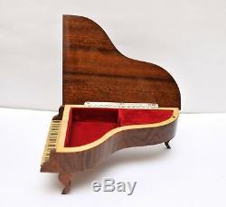 Vintage REUGE Grand Piano Music Box Wood Mosaic Jewelry Box Swiss Music Casket
