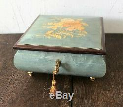 Vintage REUGE Inlaid Lacquer Wood Music Jewelry Box with Key