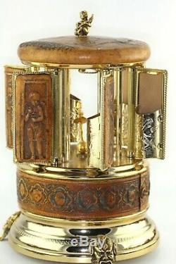 Vintage REUGE Leather Music Box Lipstick Cigarette Carousel Holder Working