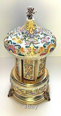 Vintage REUGE Lipstick Cigarette Music Box Carousel Holder Made in Italy