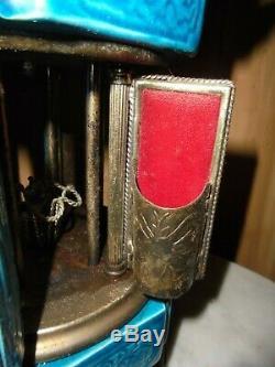 Vintage REUGE Lipstick / Cigarette Swiss Music Box Carousel Pagoda Asian Motif
