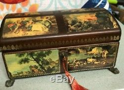 Vintage REUGE MUSIC BOX Chest with Paintings Decoupage CH 4/50 45033