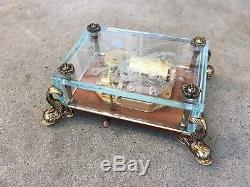 Vintage REUGE Music Box Etched Clear Glass Case Dolphin Legs Swiss Switzerland