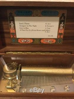 Vintage REUGE Music Box, Walnut Case, 4 Song, 50 Note, 4/50