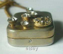 Vintage REUGE Swiss Rhinestone Music Box STARDUST Pendant Necklace SHIPS FREE