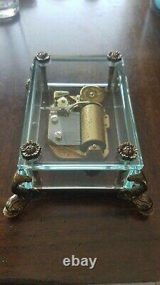 Vintage REUGE Switzerland Dauphin/Dolphin Footed Glass Music Box