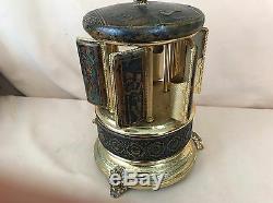 Vintage REUGE Switzerland Embossed Leather Music Box Cigarette Lipstick
