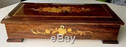 Vintage Reuge 17 Large Inlaid Swiss Musical Jewelry Box Lift Out Tray Play More