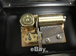 Vintage Reuge 36 Music Box, Beveled Crystal Clear Glass A. L Weber 1915 Free Ship