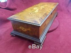 Vintage Reuge 3 Classical Tune 144 Note Sublime Harmony Burl Wooden Music Box