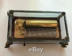 Vintage Reuge 72 Crystal Music Box Glass, Dolphin Feet Tchaikovsky Nutcracker