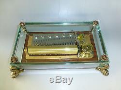 Vintage Reuge 72 Music Box, Crystal Clear Glass Plays 3 Songs Love Story & More